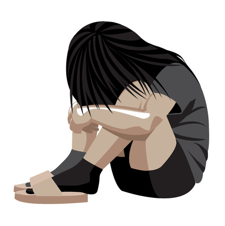 Huiselijk geweld, kind in de hoek, vrouw depressie, misbruik, beat, meisje, kind, geweld tegen vrouwen Vector Illustratie