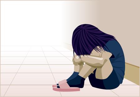 Violence domestique, enfant dans le coin, dépression de la femme, abus, battement, fille, enfant, violence contre les femmes