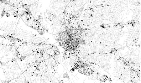 Satellite map of Columbia, South Carolina, city streets. Street map, city center. USA