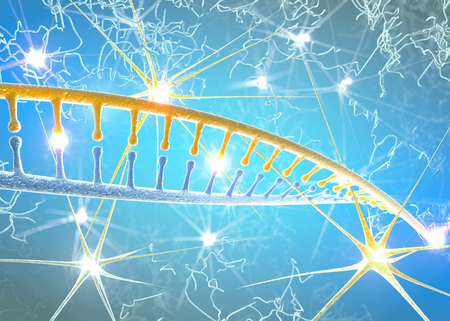 DNA and neurons, DNA restructuring, rewriting and continuous regeneration, increased activity of nerve cells, chromosomes and genetic material. 3d rendering