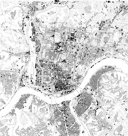 Satellite map of Cincinnati, Ohio, city streets. Street map, city center. USA