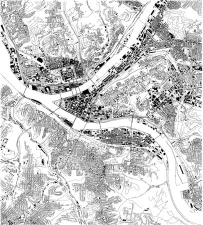 Satellite map of Pittsburgh, Pennsylvania, city streets. Street map, city center. USA