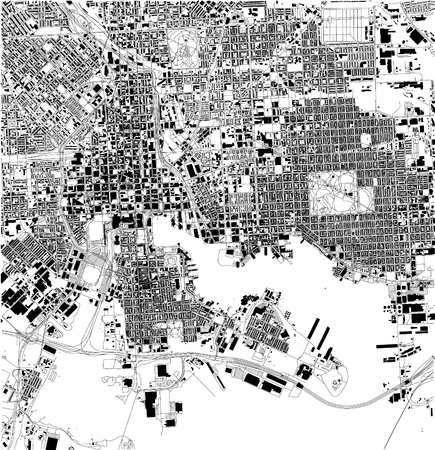 Satellite map of Baltimore, Maryland, city streets. Street map, city center. USA
