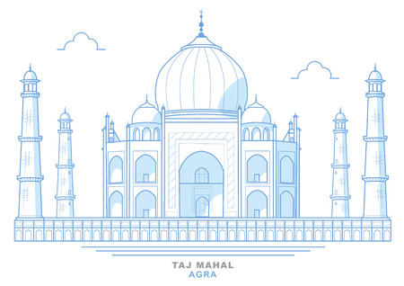 Drawing of the Taj Mahal, stylized, blue, mausoleum in the city of Agra, India. Jewel of Muslim art in India