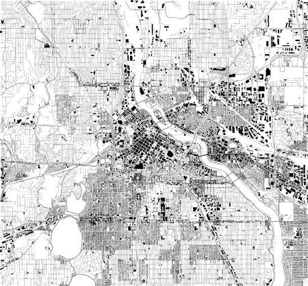 Satellite map of Minneapolis, Minnesota, USA, city streets. Street map and map of the city center
