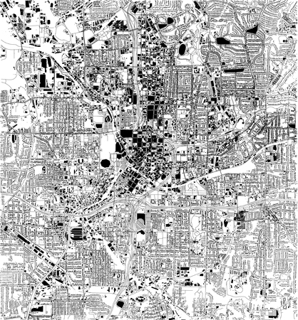 Satellite map of Atlanta, Georgia, USA, city streets. Street map and map of the city center