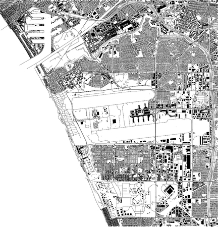 Satellite map of Los Angeles, airport, California, USA, city streets. Street map and map of the city center