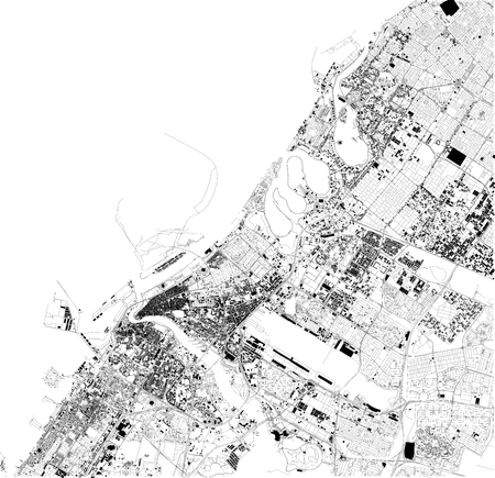 Satellite map of Dubai, United Arab Emirates, city streets. Street map and map of the city center