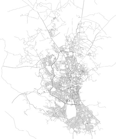Satellite map of Sana? A, Yemen, city streets. Street map and map of the city center