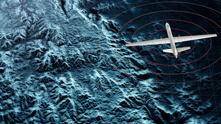 Satellite view of a military drone flying over a war zone, war operations, night vision. Military target. Undercover operation. Mountain reliefs and plains, 3d render Stock fotó