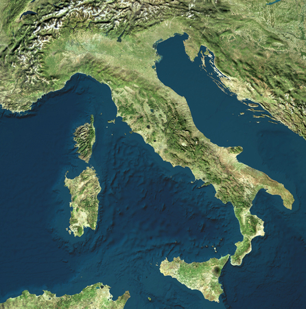 Satellite view of Italy. Italian physical map, reliefs plains and seas. Map. 3d rendering. Stockfoto