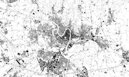 Satellite map of Verona, Veneto, Italy, city streets. Street map, city center