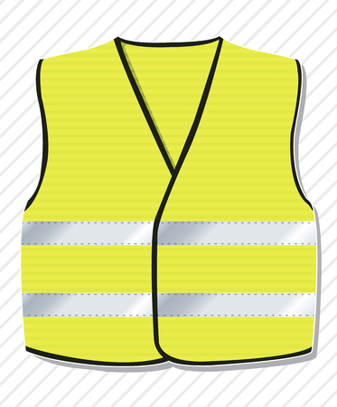 Symbol of the protest against the French government, yellow vests. Yellow coat with reflective stripes. Work jacket on construction sites Vecteurs