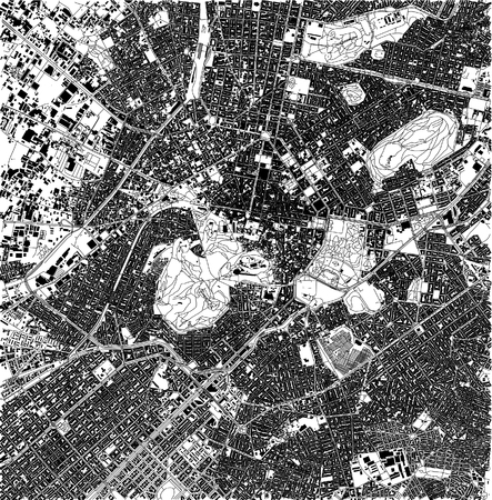 Satellite map of Athens, Greece, city streets. Street map and map of the city center 일러스트