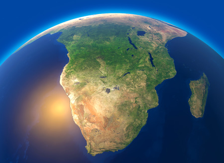 Physical map of the world, satellite view of South Africa. Globe. Hemisphere. Reliefs and oceans. 3d rendering.