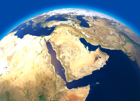 Physical map of the world, satellite view of the Middle East. Africa, Asia. Globe. Hemisphere. Reliefs and oceans. Banque d'images