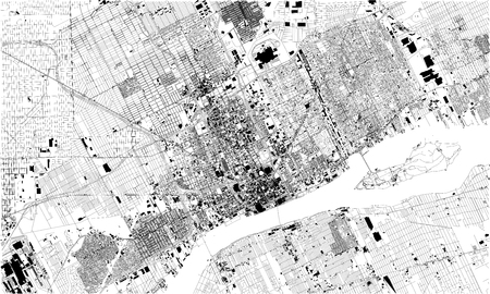 Satellite map of Detroit, Michigan, United States. City streets. Street map and map of the city center