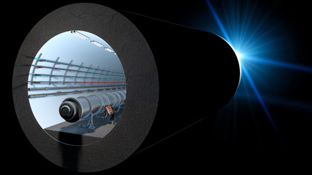 Section of the Cern tunnel. European Organization for Nuclear Research. It is the largest laboratory in the world of particle physics. 3d rendering