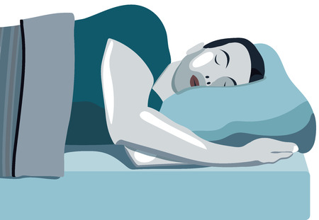 Sleeping man. Bed with mattress. Sleep well. Rest. It's a good day for your health. The importance of sleep Illustration