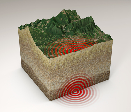 Earthquake ground section, shake, epicenter and subsoil, elements of this image are furnished by NASA. 3d rendering