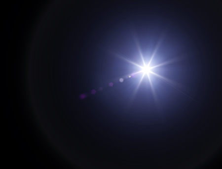 Lights and stars in the night. Lens refraction effect. Stars in the sky. Observe celestial bodies, new solar systems
