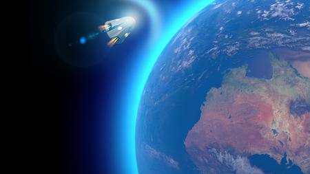 Vaisseau spatial, capsules orbitales porte-équipage. En orbite autour de la Terre. Vue satellite de la Terre. Ambiance, frictions. rendu 3D Banque d'images