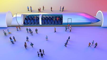 Train station and Hyperloop. Passengers waiting for the train. Futuristic technology for low-pressure pipes. 3d rendering