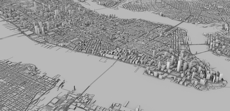 Satellite view of New York city, map, 3d buildings, 3d render. Streets and skyscraper of Manhattan Stock fotó