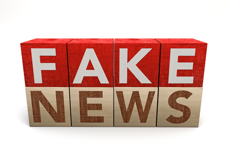 Wooden cube on white background with word fake news. Concept. Junk news deliberate disinformation or hoaxes spread via traditional print, broadcast news media, online social media. 3d rendering