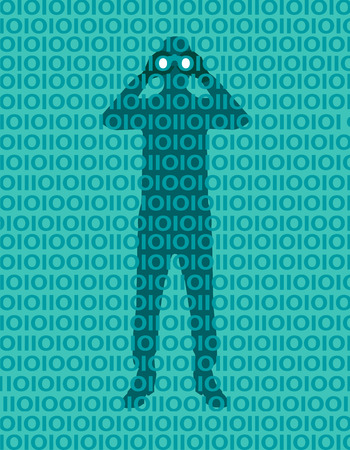 Hacker person spying data in the network. Privacy violation. Access to the network. Password. Man with binoculars hidden behind a binary numbers wall. Vulnerability concept. Businessman with binoculars peering through binary pattern 向量圖像
