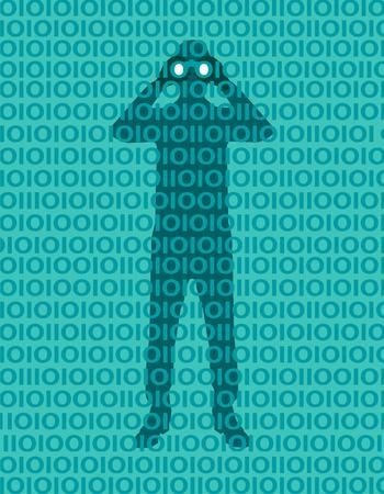 Persona hacker che spia i dati nella rete. Violazione della privacy. Accesso alla rete. Parola d'ordine. Uomo con il binocolo nascosto dietro un muro di numeri binari. Concetto di vulnerabilità. Uomo d'affari con il binocolo che scruta attraverso il modello binario Vettoriali