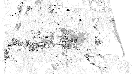 Satellite map of Christchurch is the largest city in the South Island of New Zealand and the seat of the Canterbury Region. City streets and buildings of the city center.