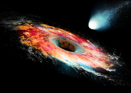 A black hole is a region of spacetime exhibiting such strong gravitational effects that nothing can escape from inside Banque d'images - 120413691