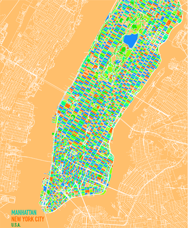 Satellite map of New York City, Manhattan Island. Neighborhoods and colored blocks. Streets and city center. Satellite view. Colorful poster map. USA Illustration