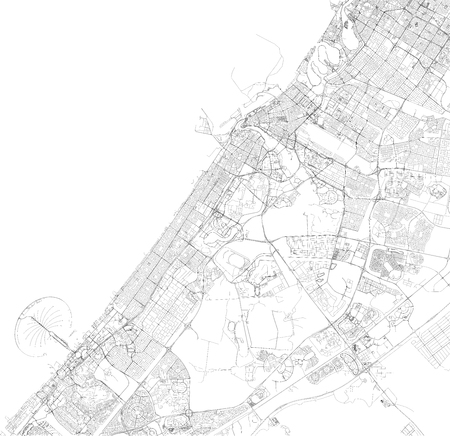Satellite map of Dubai, United Arab Emirates, city streets. Streets map of the city center