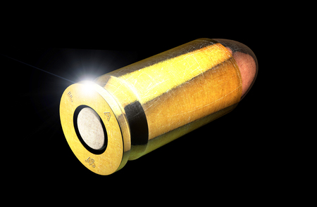 Bullet and cartridge case of a firearm, 45mm. Gun ammunition on a black background. 3d render. Campaign against firearms Stock Photo