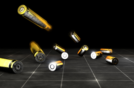 Bullets and shells of a firearm, 45-50mm. Gun ammunition on a black background. 3d render Stock Photo