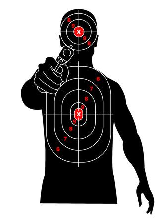 Tiro al blanco. Silueta de un hombre con pistola en la mano, criminal, delincuente. Apunta a su pecho y cabeza Ilustración de vector