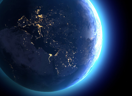 Physical map of the world, satellite view of Europe and North Africa. Night view. City lights. Globe. Hemisphere. Reliefs and oceans. 3d render. Stock Photo