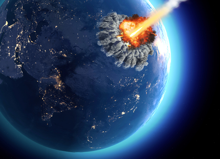 Meteorites that hit the earth. Explosion, cataclysm end of the world. Global extinction. Nuclear bomb. 3d render. Stock Photo