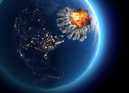 Nuclear bomb. War between nations, explosion, cataclysm. Extinction. Enemy attack. 3d render. Satellite view of the Earth.