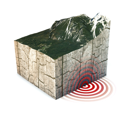Earthquake ground section, shake. Section of land struck by a strong earthquake magnitude. 3d render Stock Photo