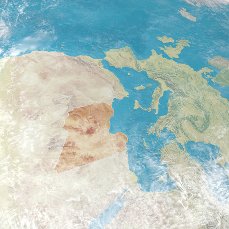 Physical map with reliefs of Libya, Libyan state in evidence. 3d map of north Africa and Europe. 3d render Stock Photo