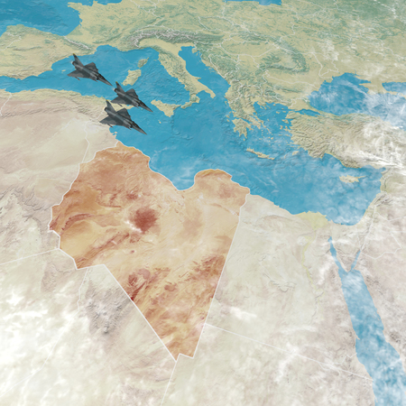 Fighter jets flying over Libya, 3d map of North Africa and Europe. War action in Libya, physical map with reliefs. 3d render Stock Photo
