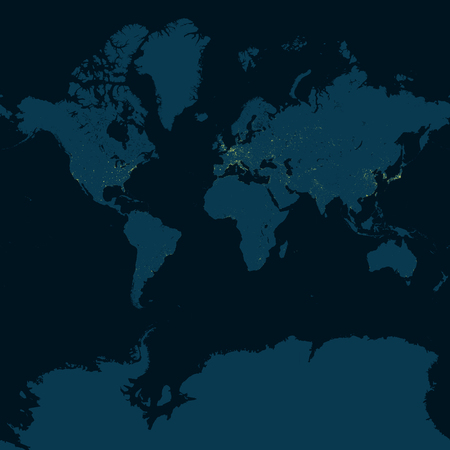 Weltkarte, Planisphäre mit markanten Stadtgebieten. Nachtansicht der Erde, Asien. Satellitenansicht der in der Nacht beleuchteten Städte. Ostasien, Japan, Korea, China, Taiwan