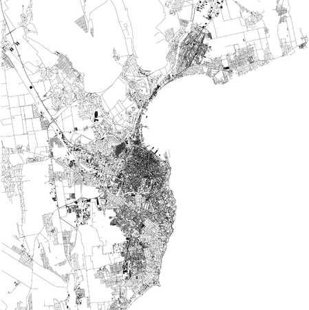 Satellite map of Odessa is the third most populous city of Ukraine. Black Sea. City streets of the town center