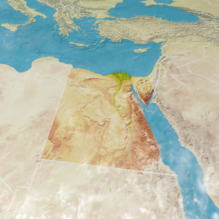 Physical map with reliefs of Egypt. 3d map of north Africa, Europe and Asia. 3d render Stock Photo
