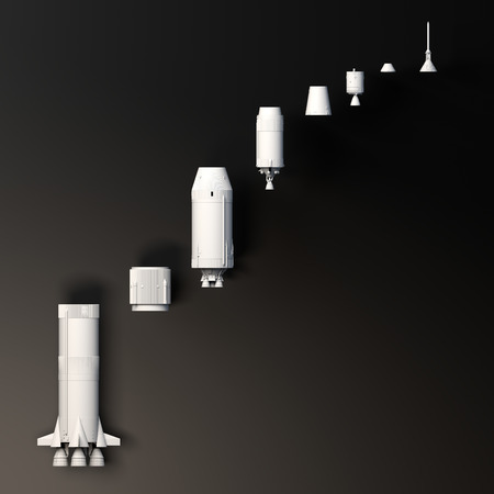 Space mission, conquest of space.   Section of the rocket. 3d render