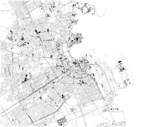 Carte satellite de Doha, la capitale et la ville la plus peuplée de l'État du Qatar. Plan des rues et des immeubles du centre-ville. Asie