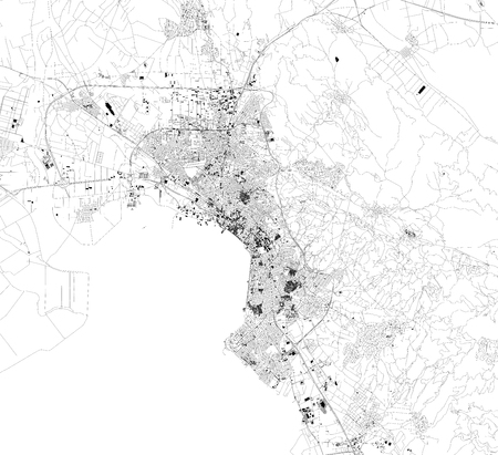 Satellite map of Thessaloniki, is the second largest city in Greece. Map of streets and buildings of the town center. europe